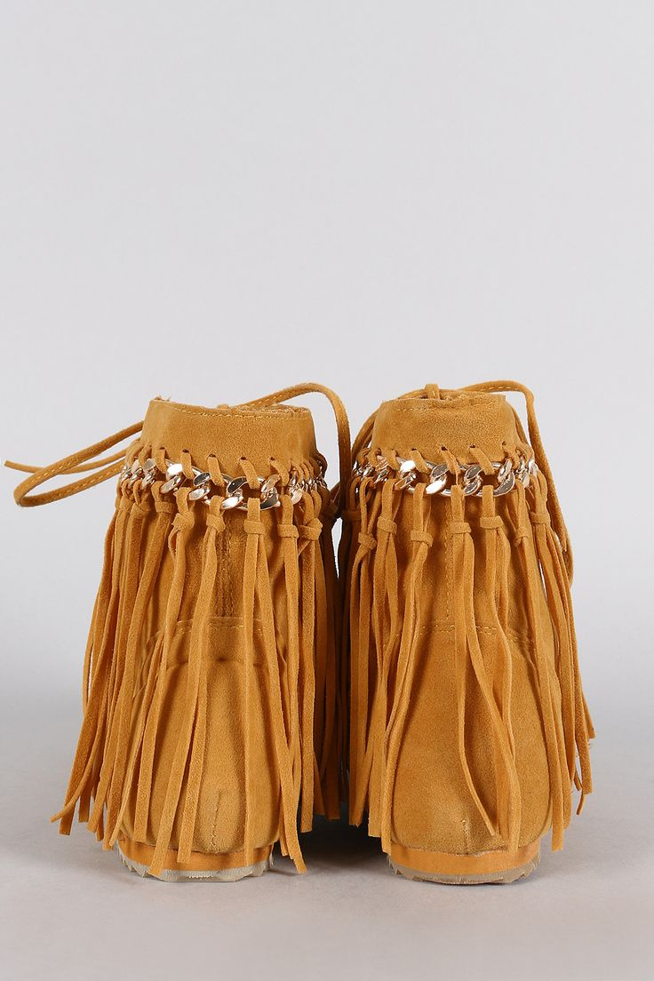 Bamboo Chain Fringe Lace Up Moccasin Flat Booties | UrbanOG