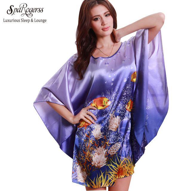 SpaRogerss brand Fashion Nightgowns Sleep shirts Plus Size Silk Lady Sleepwear Dressing Gown Home Bathrobe