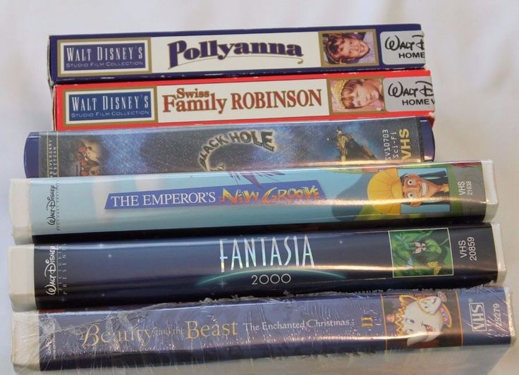Lot of 6 Walt Disney VHS Tapes Movies Pollyanna Fantasia Beauty Swiss Family