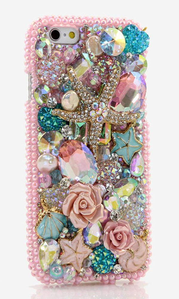 iPhone 5/ 5s Bling Case. Golden Sea Star Design (Style #801). | iPhone Crystals bling case.  http://luxaddiction.com