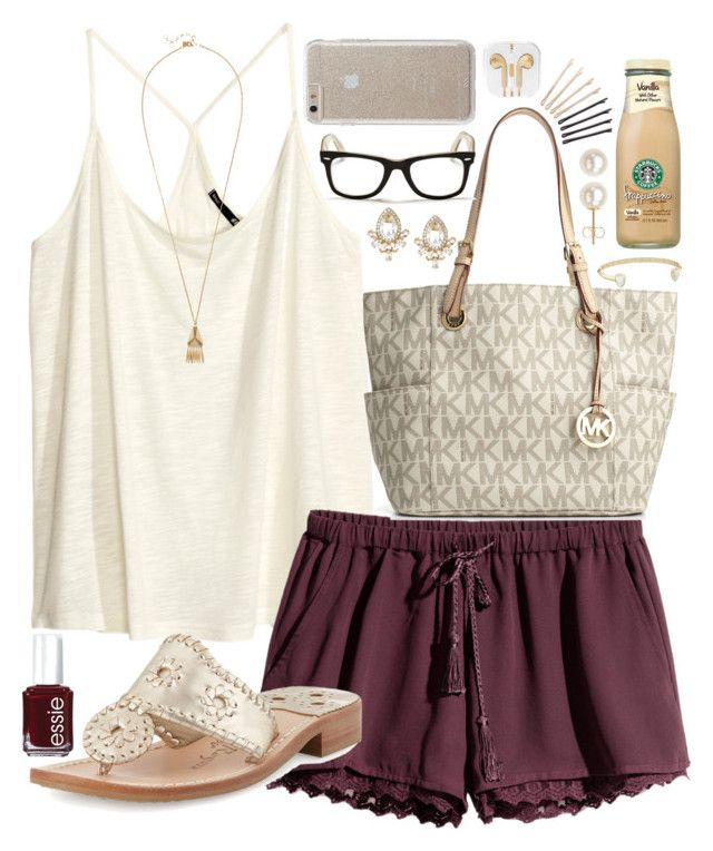"""""""Untitled #834"""" by julesnewkirk ❤ liked on Polyvore featuring ban.do, H&M, Jack Rogers, Essie, Michael Kors, Kate Spade, Kendra Scott, Ray-Ban, Case-Mate and Honora"""