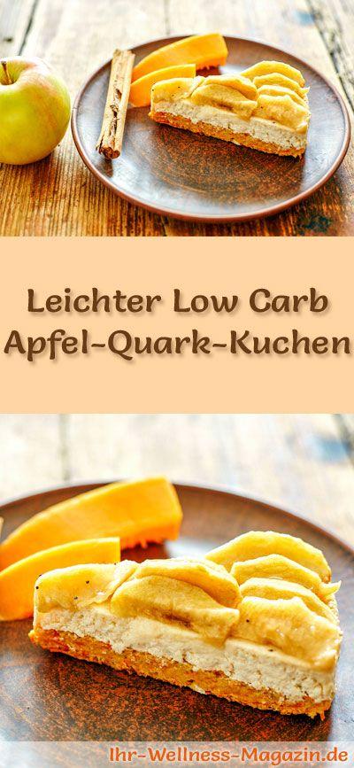 Rezept für einen leichten Low Carb Apfel-Quark-Kuchen: Der kalorienreduzierte Apfelkuchen wird ohne Zucker und Getreidemehl gebacken. Er ist kohlenhydratarm, enthält viel Eiweiß ...