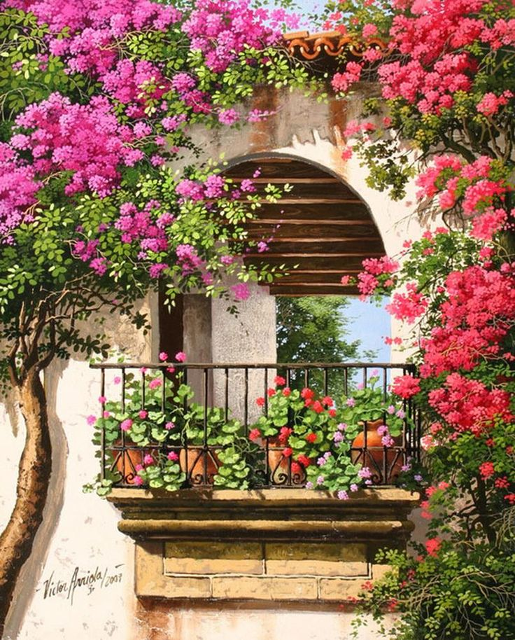 Victor Arriola painting ~ bougainvillea takes over