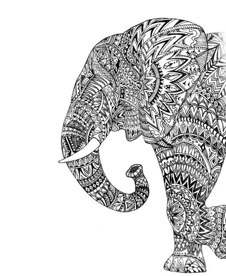 Pen Drawing Elephant Side View Graphic Art Hand Drawing