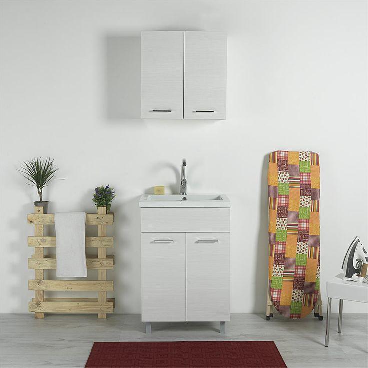 Vasca lavatoio 60x50 ceramica con mobile Danubio Bianco