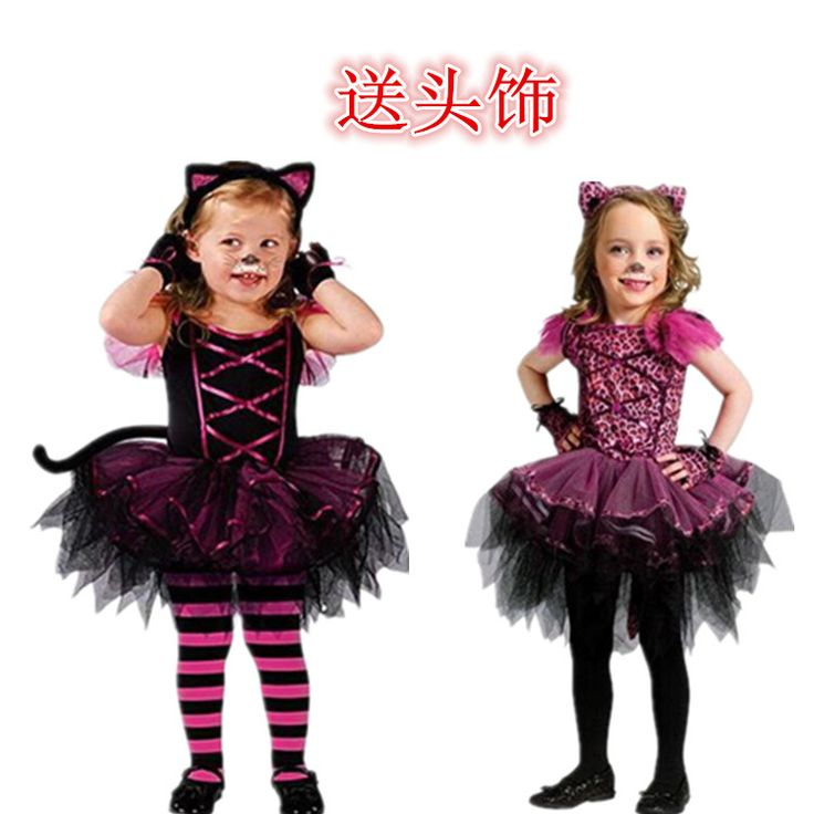 cosplay costumes child girl dresses halloween party dress kids christmas clothing set dress+headwear baby girl cat girl  dresses #Affiliate