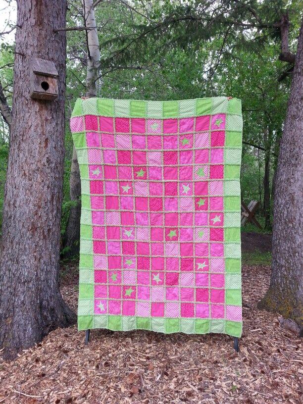 Danika's study quilt, June 2015.  Flannel rag quilt.