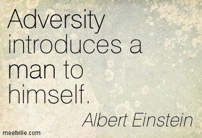 Adversity introduces a man to himself.  please re pin if you agree