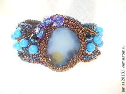 браслет с агатом - тёмно-синий,однотонный,агат натуральный,Сваровски,халцедон
