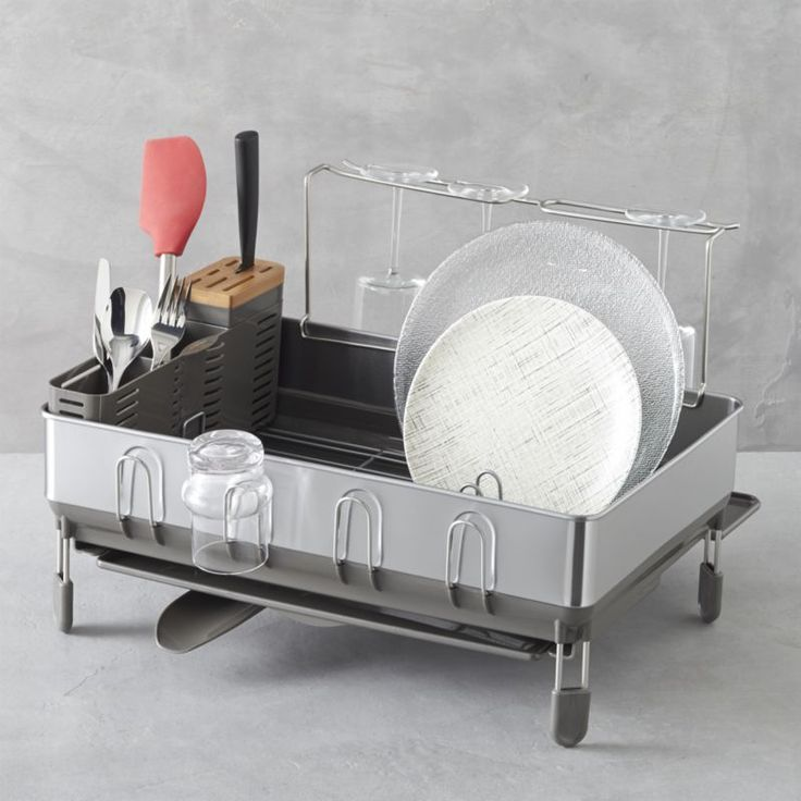 simplehuman® Dish Rack Deluxe  | Crate and Barrel