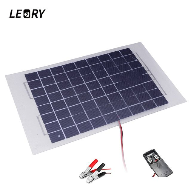 Leory 12v 10w Polycrystalline Transparent Epoxy Cells Solar Panel Diy Solar Module With Block Diode 2 Alligator Clips Diy Solar Panel Solar Panels Solar Module
