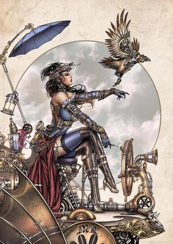 Lady Mechanika by by Chrome Art, colours by Ula... - Art Vault