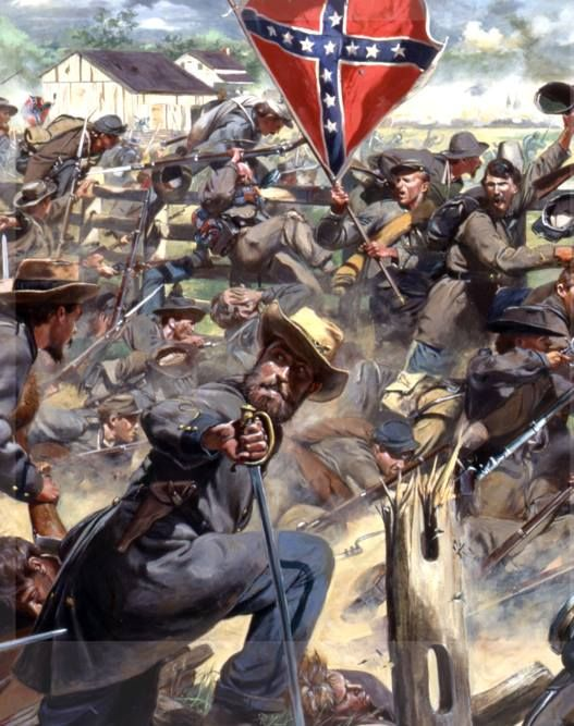"""Gettysburg, 3 July, 1863, """"We suffered very little from the enemy fire until about half way across the field. We climbed a diagonal fence running across the field and we were now greeted by heavy doses of canister. Our men were falling in every direction but we managed to struggle on. About 200 yards from the enemy we reached another fence which confused us considerably. The fire from enemy artillery and infantry were terrible and we were reduced to a mere skirmish line."""" H.Moore of the 38th…"""