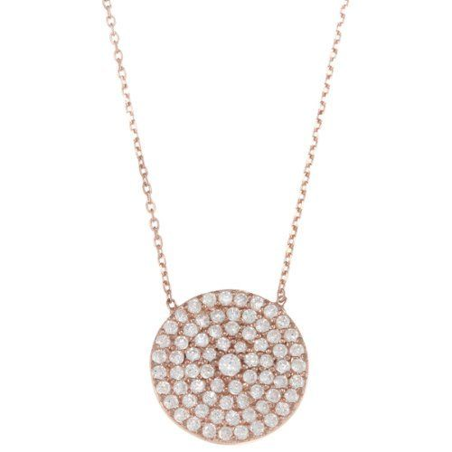 """Sterling Silver 16"""" Rose-Gold Plated CZ Circle Disc Necklace Beaux Bijoux. $35.50. Gift box included. Can be delivered next Business Day!. Simple yet elegant design. Crafted of 925 Sterling Silver. Save 41% Off!"""