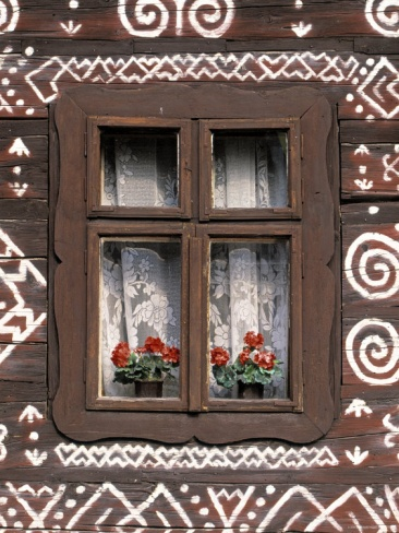Window of Wooden Built Cottage, Cichany, Central Slovakia