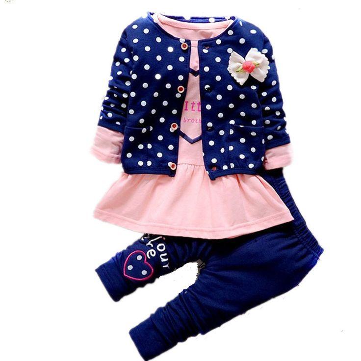 $18.50 (Buy here: https://alitems.com/g/1e8d114494ebda23ff8b16525dc3e8/?i=5&ulp=https%3A%2F%2Fwww.aliexpress.com%2Fitem%2FChild-Girls-Clothes-Set-3pcs-sweater-Dress-Pant%2F32710567233.html ) 2016 New Style  Full Baby Girl Set Children Sweater Cardigan +Dress +Pant 3pcs Suits Girls Kids Clothing Roupa De Bebe Menina for just $18.50