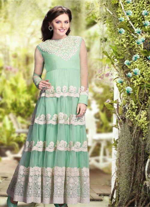 Luscious Pale Cyan Blue Net #Salwar Kameez #salwarkameez #pakistanisalwarkameez #womenapparel #ethnicwear