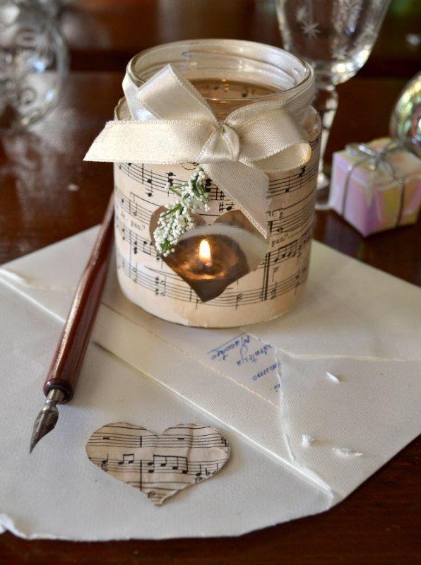 decorazioni natalizie per barattoli di vetro spartiti musicali