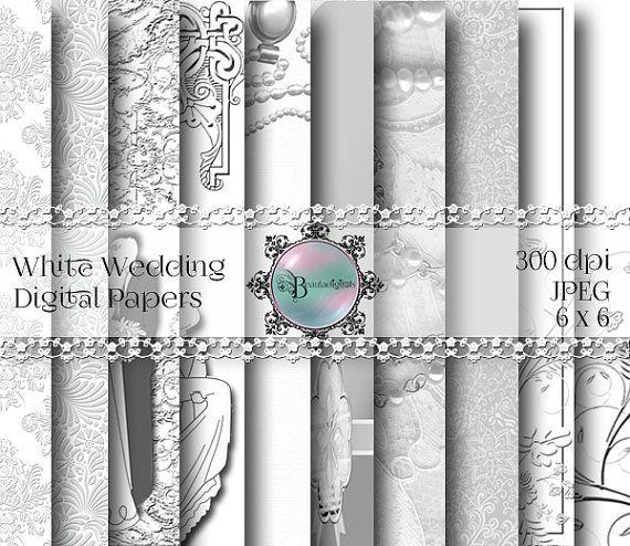 White Wedding Digital Papers  Pattern by Beauladigitals on Etsy