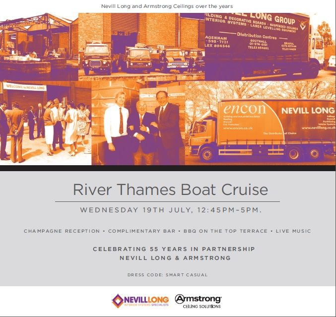 Invitation to our boat cruise to celebrate our 55 year anniversary with Nevill Long