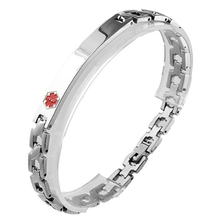 """Medical Alert 316L Stainless Steel Link Unisex Bracelet, Engravable ID Tag, 8"""" #Stahl"""