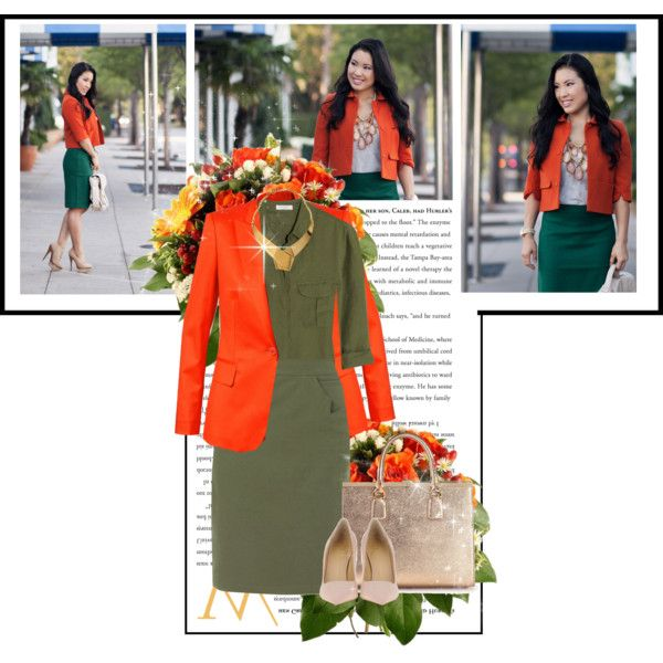 """Fantasy Outfit#296 - Orange and Green"" by jinath-hyder on #Polyvore #orange #green #Vionnet: Wrapped Ribbon Collar #Necklace, Boyfriend #Blazer 'Iris' Orange, Equipment Cory linen shirt, Kilian Kerner Senses Pencil skirt, #dolceandgabbana 'Eva' #tote, #GiuseppeZanotti #Pumps"