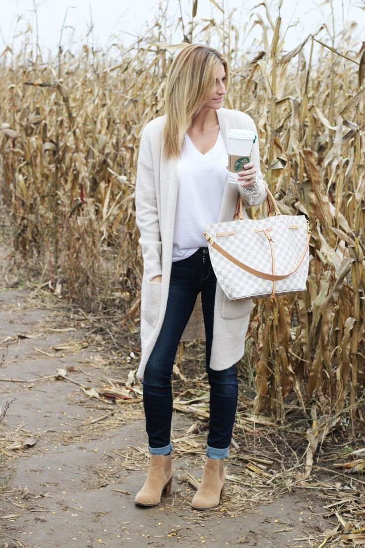 The perfect oversized cardigan for fall!  Love this neutral fall cardigan.  Cardigan – Forever 21 // T-Shirt – Forever 21 // Jeans – Guess // Booties – Town Shoes (similar) // Bag – Louis Vuitton        There are two things I look for in a sweater – that