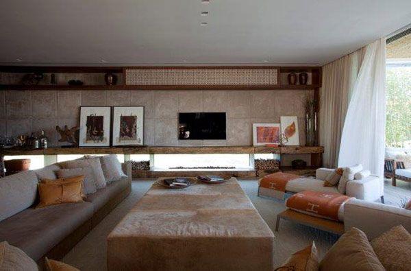 Sala de tv rústica