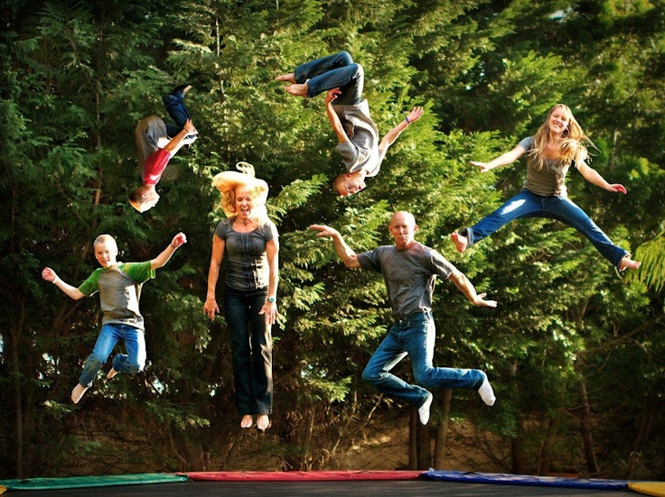 Fun trampoline family photo: