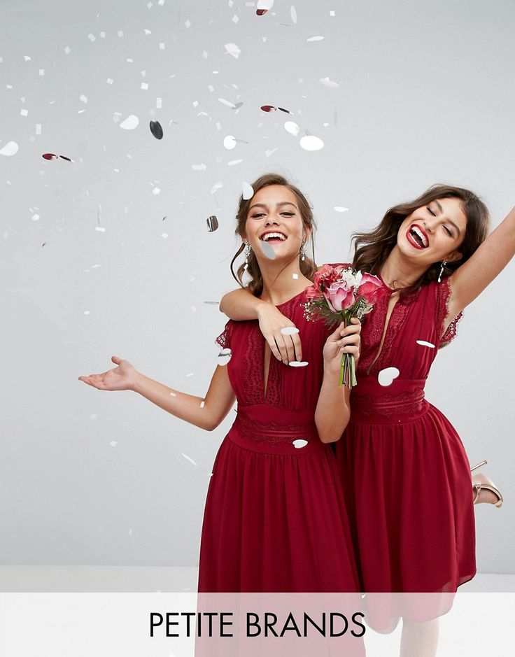 TFNC Petite WEDDING Lace Detail Maxi Dress - Red