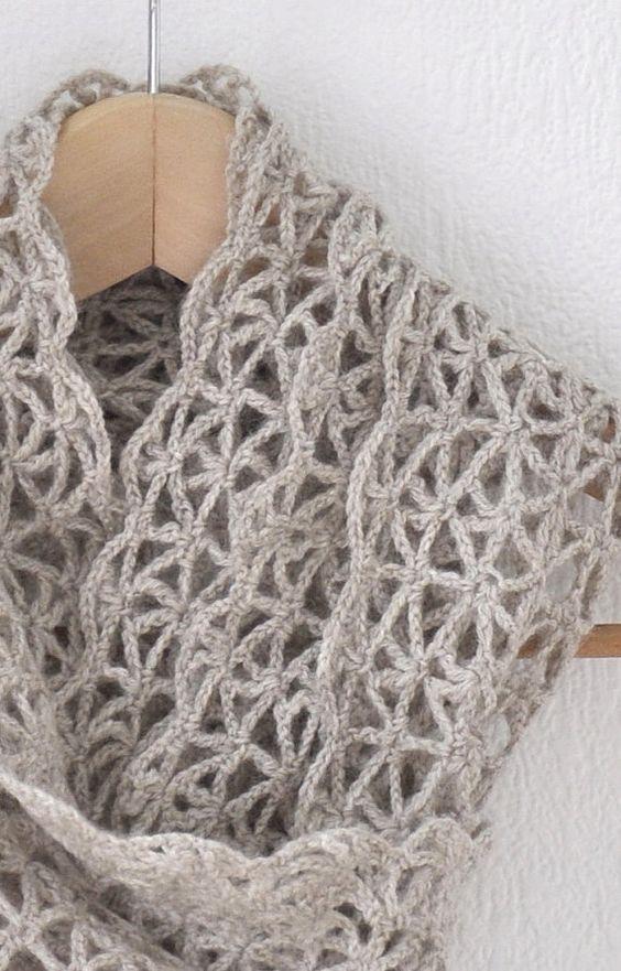 Bufanda lana avena Chochet y encaje por woolnwhite en Etsy