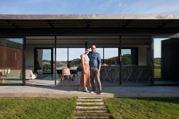 corban and alex walls outside their property at 71c taiapa valley road muriwai new zealand. Black Bedroom Furniture Sets. Home Design Ideas