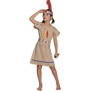 Déguisement indienne fille luxe, robe Amérindienne (indienne d'Amérique) beige avec ceinture en tissu
