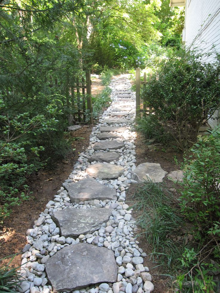 Dry creek with boulder steppers, side yard, drainage solution