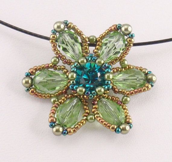 Instructions for Spring Flower Pendant    Beading by njdesigns1, $10.00
