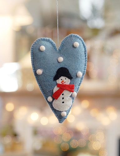 Christmas craft. Felt snowman Ornament as Christmas decoration