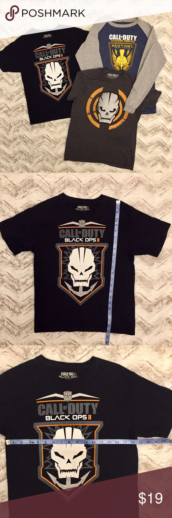 👦BOYS CALL OF DUTY T SHIRT BUNDLE OF 3 10/12👦 👦BOYS CALL OF DUTY T SHIRT BUNDLE OF 3 10/12👦. Two short and one long sleeve shirts.  Please see pictures for measurements and details.  Cotton and polyester.  All in EXCELLENT gently used condition, no signs of wear, only worn a few times.  All my items are kept in a clean house that's free of smoke and pets. 👦NCMCOLLECTIONS 👦 Call of Duty Shirts & Tops