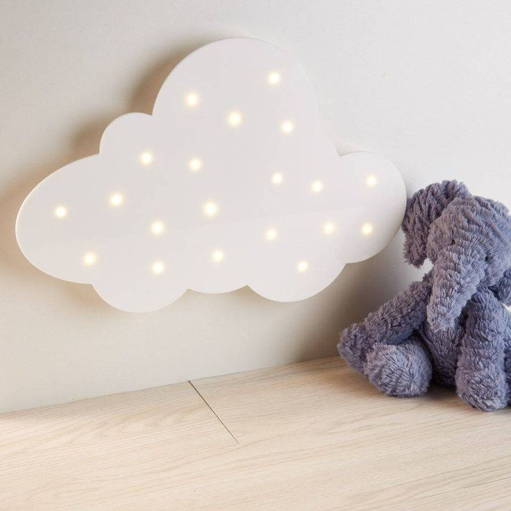 A bright white cloud light designed in house.A beautiful home accessory; a bright white acrylic cloud lit with fairy lights; for your nursery, a child's bedroom, your office, kitchen, almost anywhere. So pretty you will never want to turn it off. Lit with 20 fairy lights that can be solid or flashing bright light. Beautiful in the dark. Designed by us here at Pink Biscuits and made exclusively for us to sell here at Not On The High Street. This light has it's own casing at the rear for the…