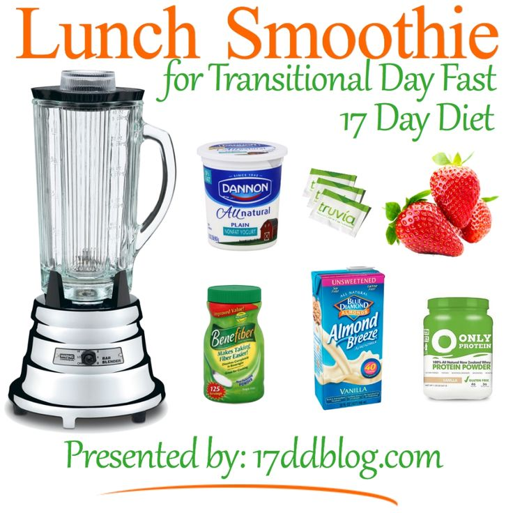 Lunch Smoothie Recipe for the 17 Day Diet Transitional Day Fast (pin for recipe) #weightlossmotivation