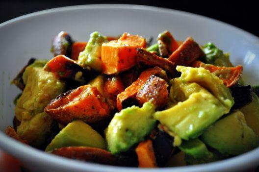 Avocado Sweet Potato Salad  [easy, extras: garlic ginger, citrus juice; AIP; HIGH FODMAP]