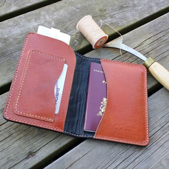 Full grain cow hide leather passport holder....