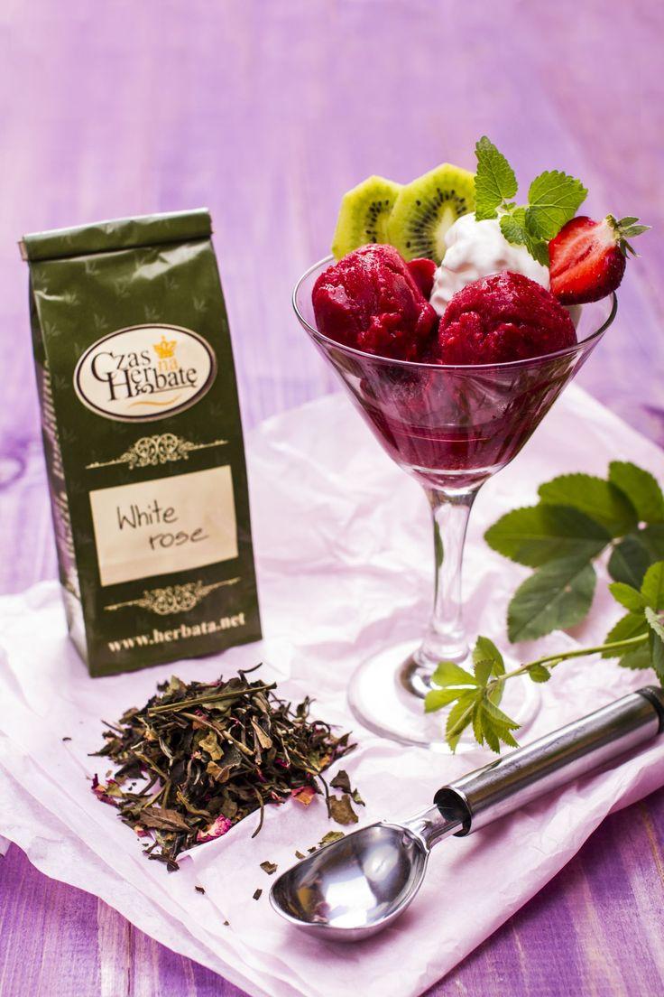 Eksperowy sorbet malinowy z herbatą White Rose #sorbet #maliny #herbata #lato #mniam #pycha #raspberries #tea #summer #przepis #recipe #nosugar #withoutsugar