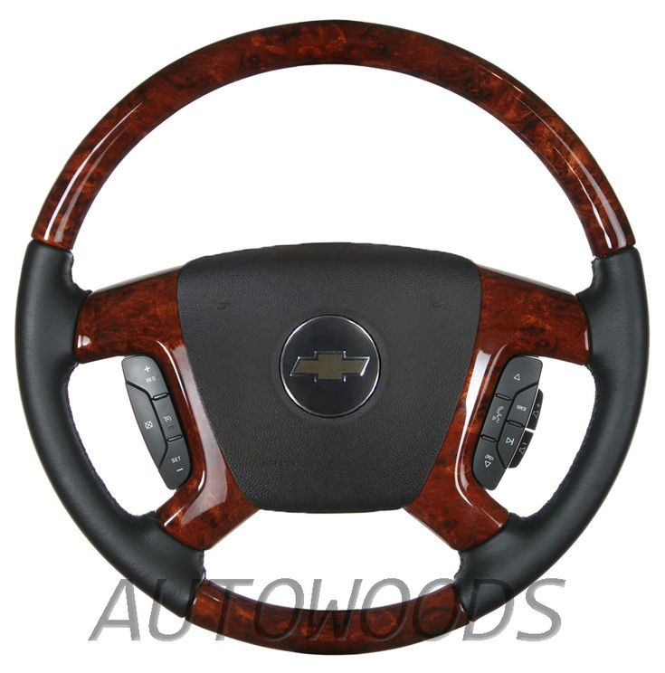 Wood Leather OEM Steering Wheel for 2007 2008 2009 Accessory Trim Kit Chevrolet GMC Silverado Tahoe Suburban Avalanche Sierra Yukon Burl Peeling Flaking Chevy Spoke Spokes Cover Covers Black