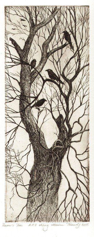 """Raven's Tree"" © by Marina Terauds. - http://teraudsstudio.blogspot.com/2009/05/ravens.html"
