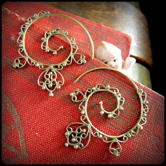 Smaller Brass or Silver Tribal Spiral Earrings by TalismanaDesigns