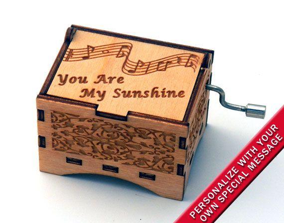 "Music Box ""You Are My Sunshine"" by Jimmie Davis Laser Engraved Wooden Interlocking Hand Crank Music Box"