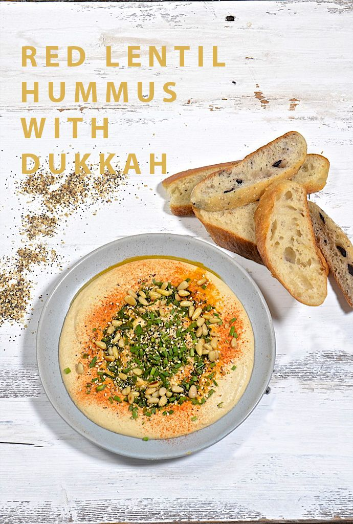 Red lentil hummus with dukkah