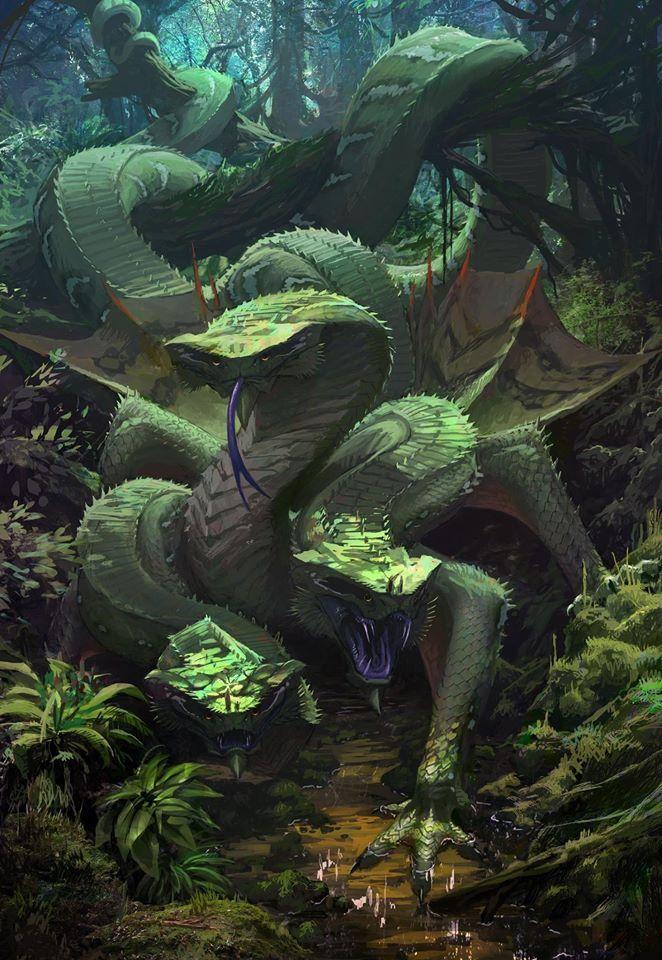 Creeping tre hoder  Como su nombre dice esta criatura de tres cabezas esta compuesta por tres cabezas de serpiente pegadas a un torso con 2 patas pequeñas y otras dos mas largas al torso le sale una cola muy grande  Peligro 8