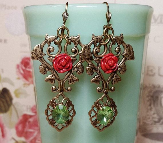 Victorian Christmas Holiday Earrings Romantic Earrings Red