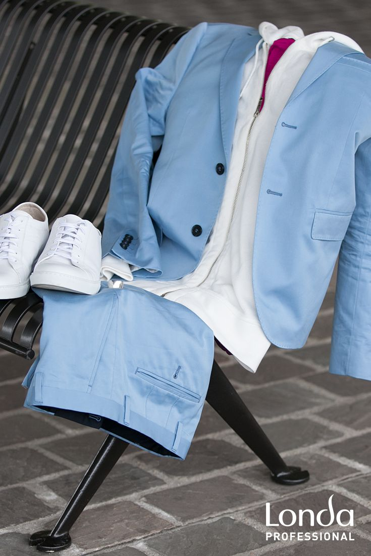 Match your monochrome powder blues with a white hoodie and white trainers for a new perspective YOUR PERSPECTIVE on the conservative suit. #SS #haircolor #pastel #men